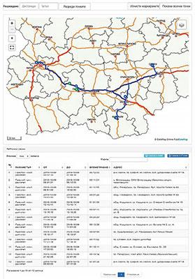 GPS система за наблюдение - следа на движение